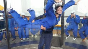 Evelyn in simulated skydiving chamber
