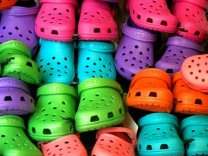 Crocs in all rainbow colors