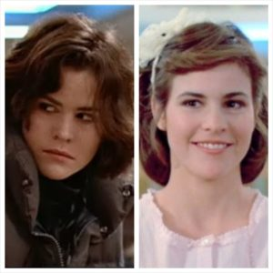 Ally Sheedy's character in The Breakfast Club, before and after her makeover.