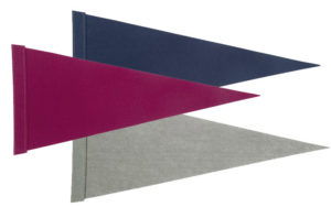 3 blank college pennants - one navy, one gray, one maroon.