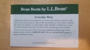 L.L. Bean Boot card on everyday wear-brand niche marketing