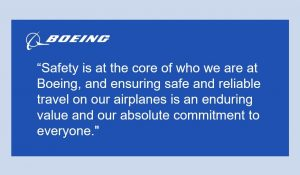 """Boeing's March 18 tweet read """"Safety is at the core of who we are at Boeing, and ensuring safe and reliable travel on our airplanes is an enduring value and our absolute commitment to everyone."""""""