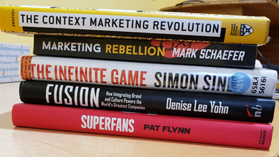 5 great marketing books to read - Marketing Rebellion, The Context Marketing Revolution, The Infinite Game, Fusion, Superfans