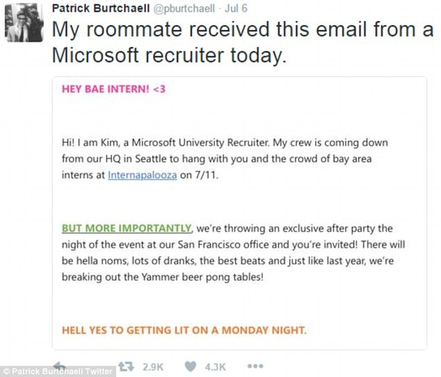 Microsoft recruiting email appeal to millennials backfire