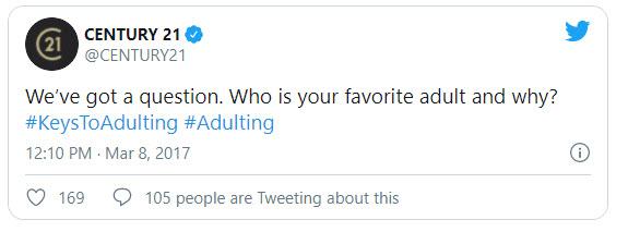 Century 21 tweet #adulting