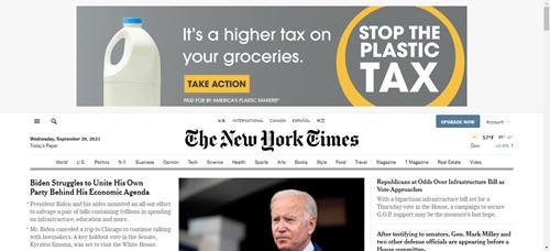 NY Times header on Chrome 9-29-21